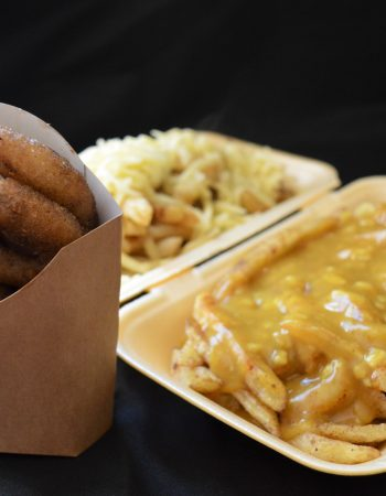 Chips with Curry Sauce or Cheese and Onion Rings
